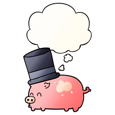 cartoon pig wearing top hat with thought bubble in smooth gradient style Ilustração