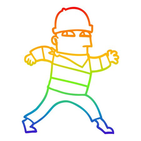 rainbow gradient line drawing of a cartoon thief