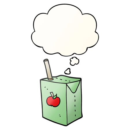 cartoon apple juice box with thought bubble in smooth gradient style Ilustração