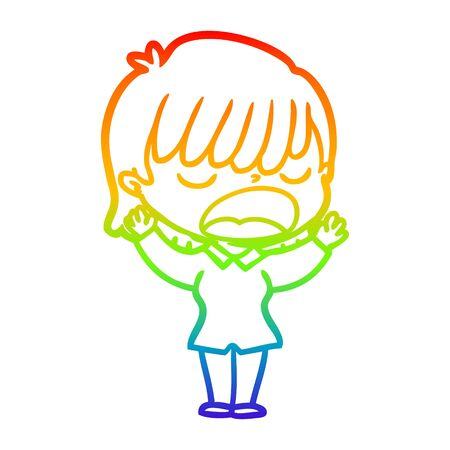 rainbow gradient line drawing of a cartoon woman talking loudly