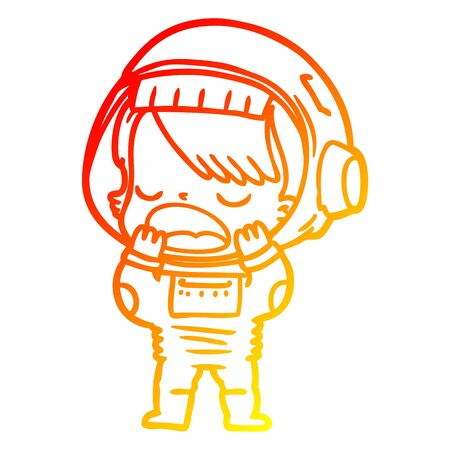 warm gradient line drawing of a cartoon talking astronaut yawning 向量圖像
