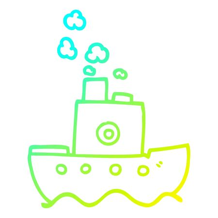 cold gradient line drawing of a cartoon ship Çizim