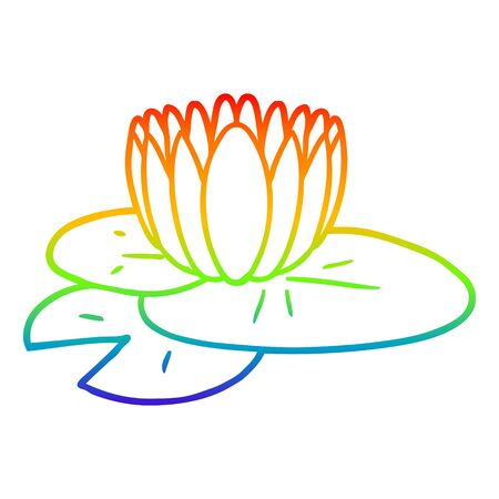 rainbow gradient line drawing of a cartoon water lily Illustration
