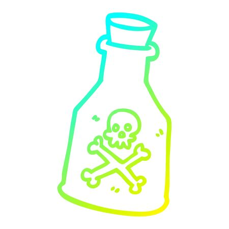 cold gradient line drawing of a cartoon poison bottle 向量圖像