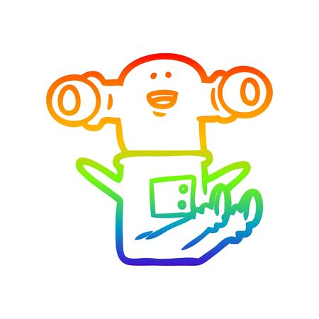 rainbow gradient line drawing of a friendly cartoon alien sitting down