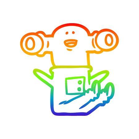rainbow gradient line drawing of a friendly cartoon alien sitting down