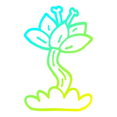 cold gradient line drawing of a cartoon lilly flower Иллюстрация