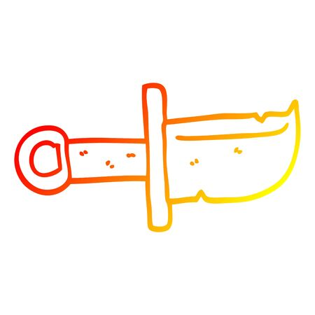 warm gradient line drawing of a cartoon dagger  イラスト・ベクター素材