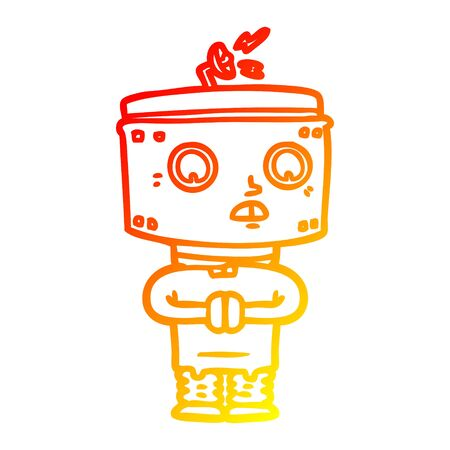 warm gradient line drawing of a cartoon robot