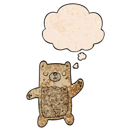 cartoon bear with thought bubble in grunge texture style
