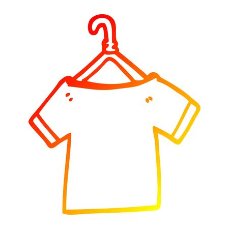 warm gradient line drawing of a cartoon t shirt on hanger