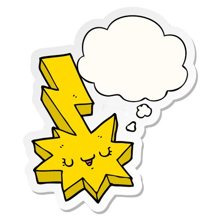 cartoon lightning strike with thought bubble as a printed sticker