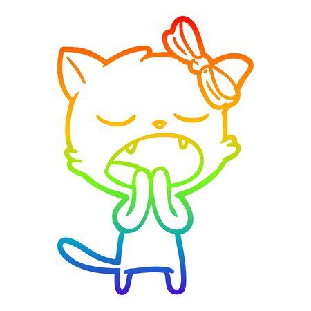 rainbow gradient line drawing of a cartoon yawning cat