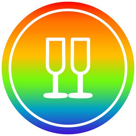 champagne glasses circular icon with rainbow gradient finish Stock Illustratie