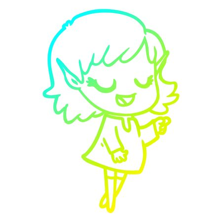 cold gradient line drawing of a happy cartoon elf girl pointing