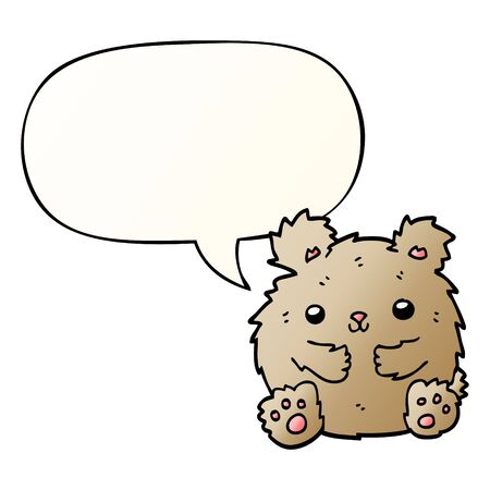 cute cartoon bear with speech bubble in smooth gradient style Ilustração