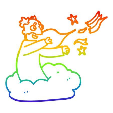 rainbow gradient line drawing of a cartoon god creating universe Stock Illustratie