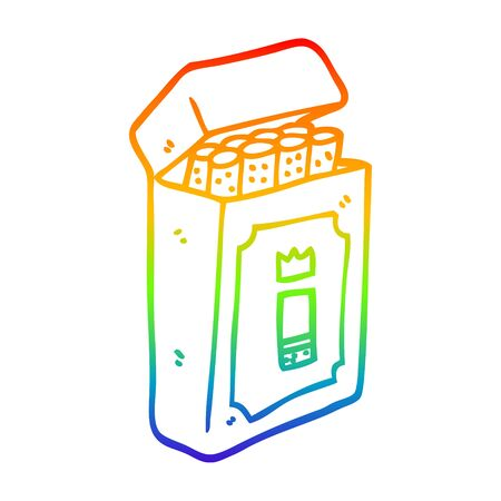 rainbow gradient line drawing of a cartoon pack of cigarettes