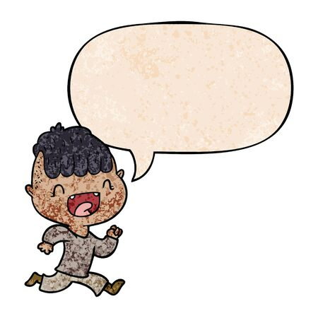 cartoon happy boy laughing and running away with speech bubble in retro texture style