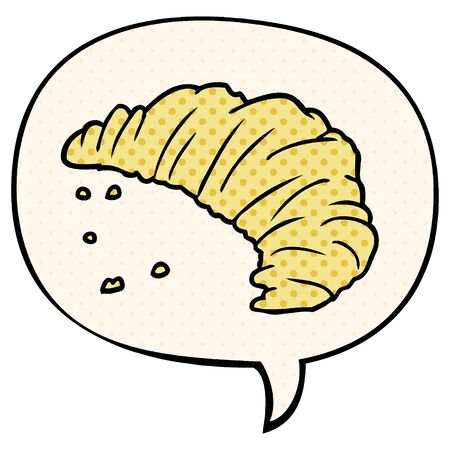 cartoon croissant with speech bubble in comic book style