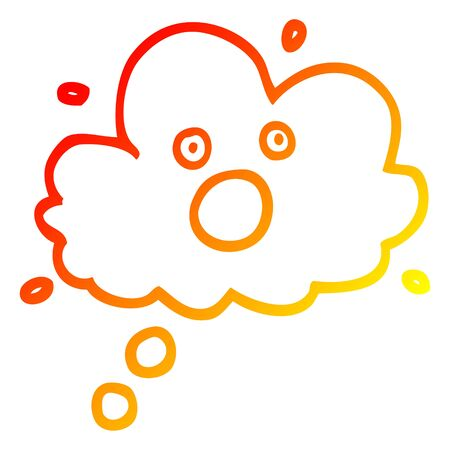 warm gradient line drawing of a cartoon screaming thought cloud
