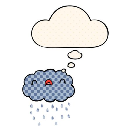 cute cartoon cloud with thought bubble in comic book style Çizim