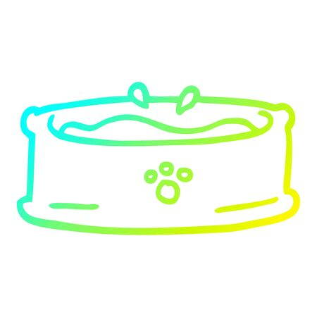 cold gradient line drawing of a cartoon pet bowl