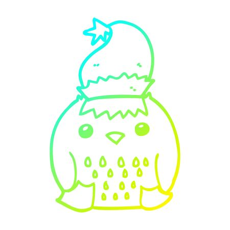 cold gradient line drawing of a cute cartoon owl wearing christmas hat