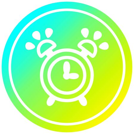 ringing alarm clock circular icon with cool gradient finish Illusztráció