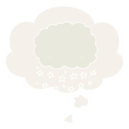 cartoon rain cloud with thought bubble in retro style