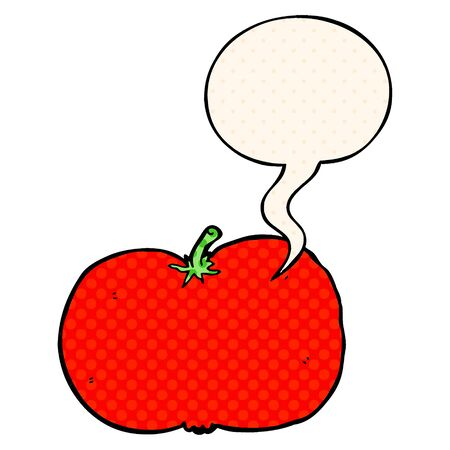 cartoon tomato with speech bubble in comic book style
