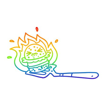 rainbow gradient line drawing of a cartoon burger on spatula