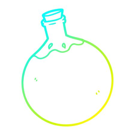 cold gradient line drawing of a halloween potion cartoon Stock Illustratie