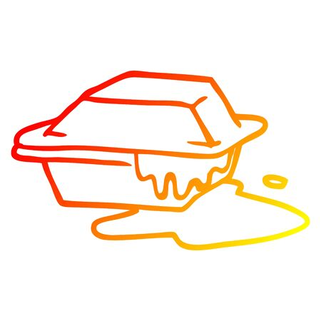 warm gradient line drawing of a cartoon cheesy takeout
