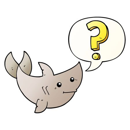 cartoon shark asking question with speech bubble in smooth gradient style