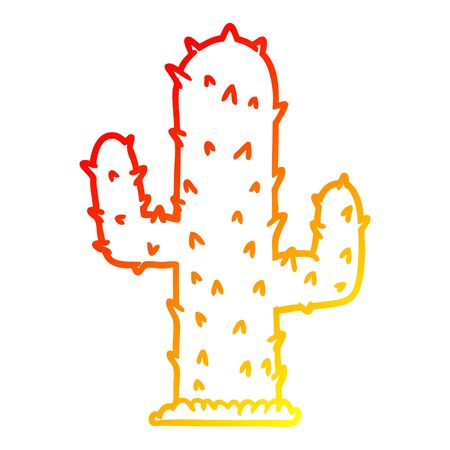 warm gradient line drawing of a cartoon cactus