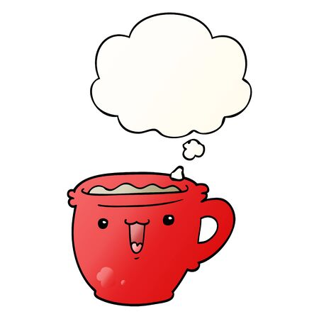 cute cartoon coffee cup with thought bubble in smooth gradient style