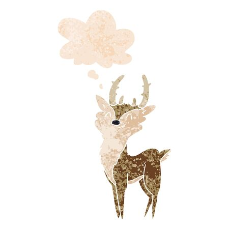 cartoon happy stag with thought bubble in grunge distressed retro textured style