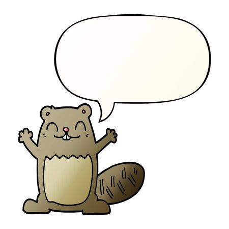 cartoon beaver with speech bubble in smooth gradient style