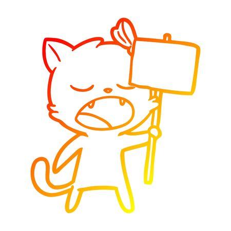 warm gradient line drawing of a cartoon yawning cat 向量圖像