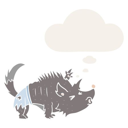 cartoon werewolf with thought bubble in retro style Ilustração