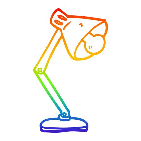 rainbow gradient line drawing of a cartoon office lamp