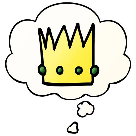 cartoon crown with thought bubble in smooth gradient style Ilustração
