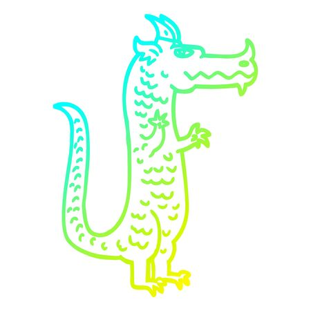 cold gradient line drawing of a cartoon magical dragon