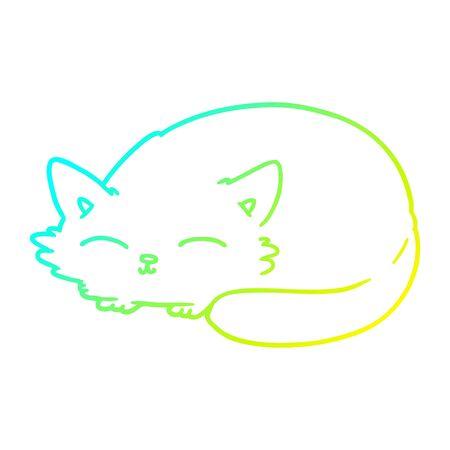 cold gradient line drawing of a cartoon cat sleeping Stock Illustratie