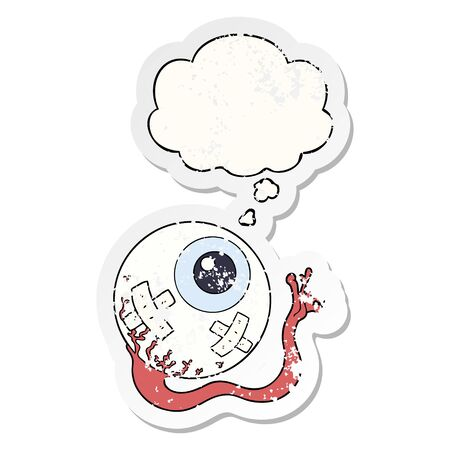 cartoon injured eyeball with thought bubble as a distressed worn sticker Çizim