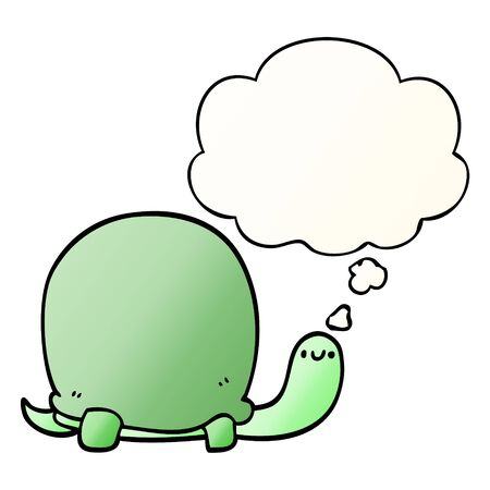 cute cartoon tortoise with thought bubble in smooth gradient style Ilustração