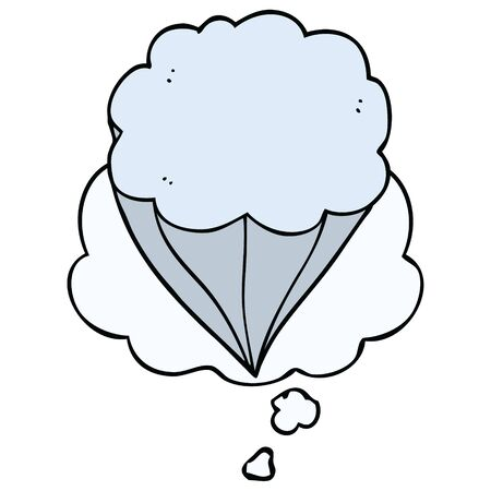 cartoon cloud symbol with thought bubble