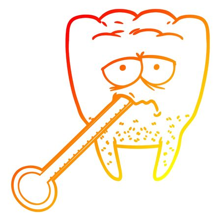 warm gradient line drawing of a cartoon unhealthy tooth Ilustracja