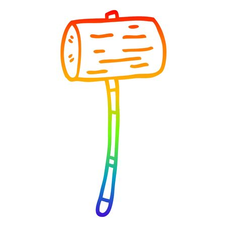 rainbow gradient line drawing of a cartoon wood mallet